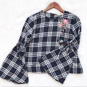 Love Notes Plaid Bell Sleeve Top